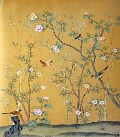 Chinese hand painted wallpaper chinoiserie 20 la for Chinoiserie mural wallpaper